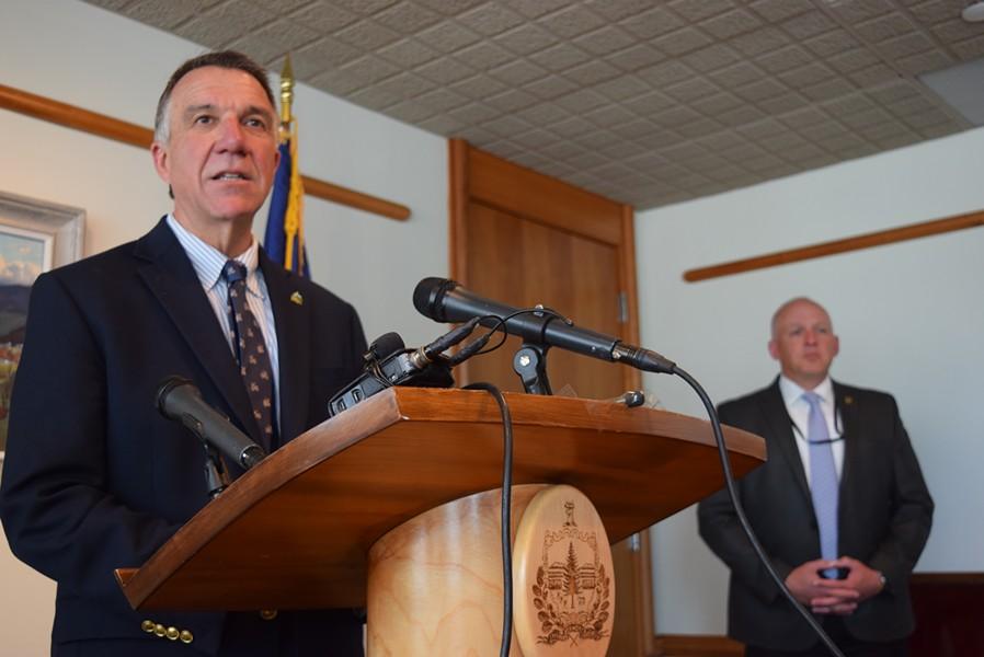 Gov. Phil Scott at a press conference Wednesday - TERRI HALLENBECK
