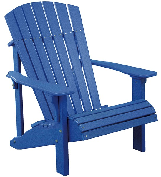 A blue poly chair from Lamoille Woodcraft