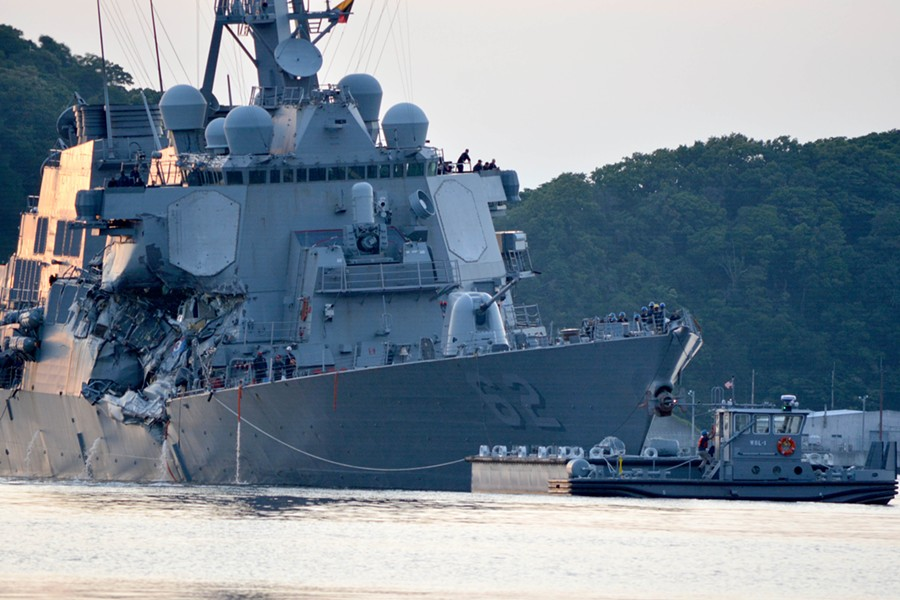 The damaged USS Fitzgerald - COURTESY: U.S. NAVY