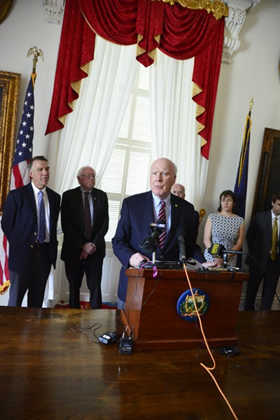 Gov. Phil Scott, Sen. Bernie Sanders, Sen. Patrick Leahy, Congressman Peter Welch, Speaker Mitzi Johnson and Sen. Tim Ashe at a press conference Monday at the Statehouse - STEFAN HARD