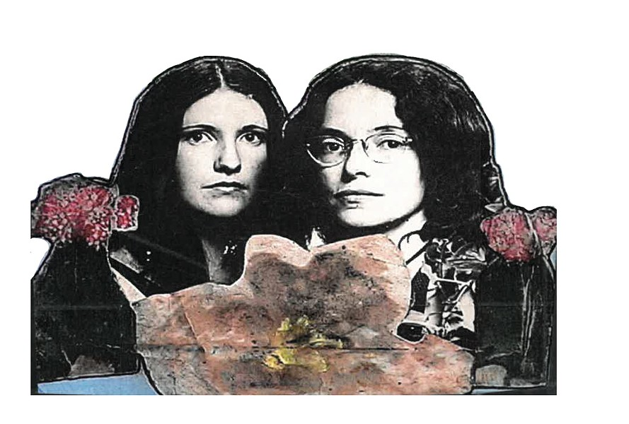 Scrapbook cover featuring photo of Doreen Kraft (left) and Robin Lloyd (right), taken in 198 0