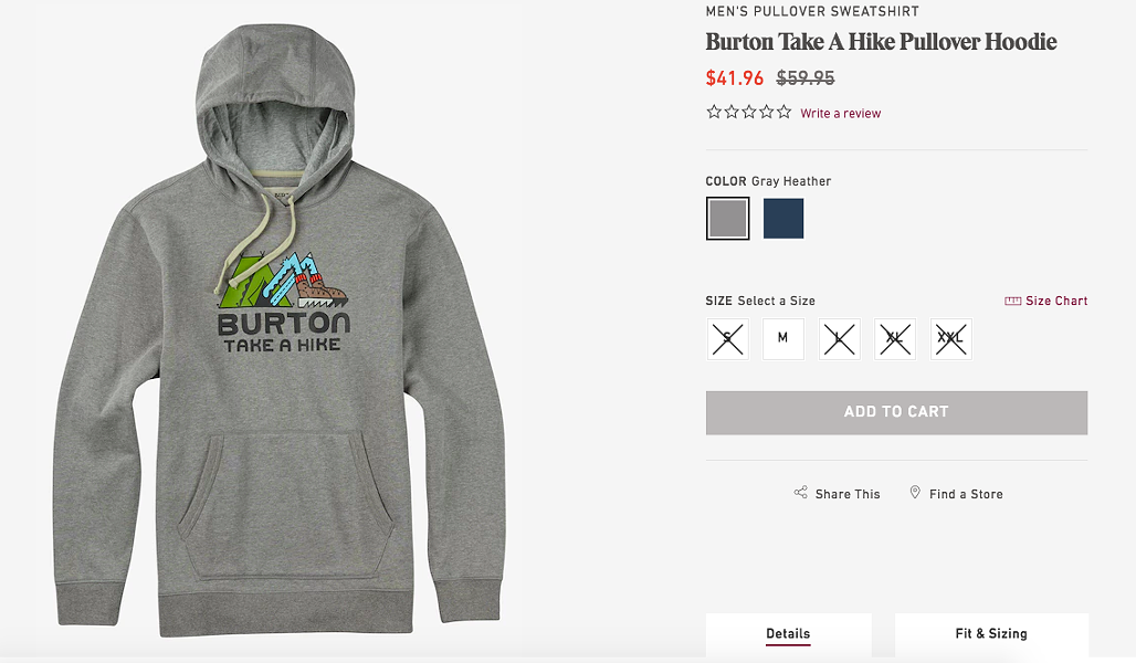 The Burton website - SCREENSHOT