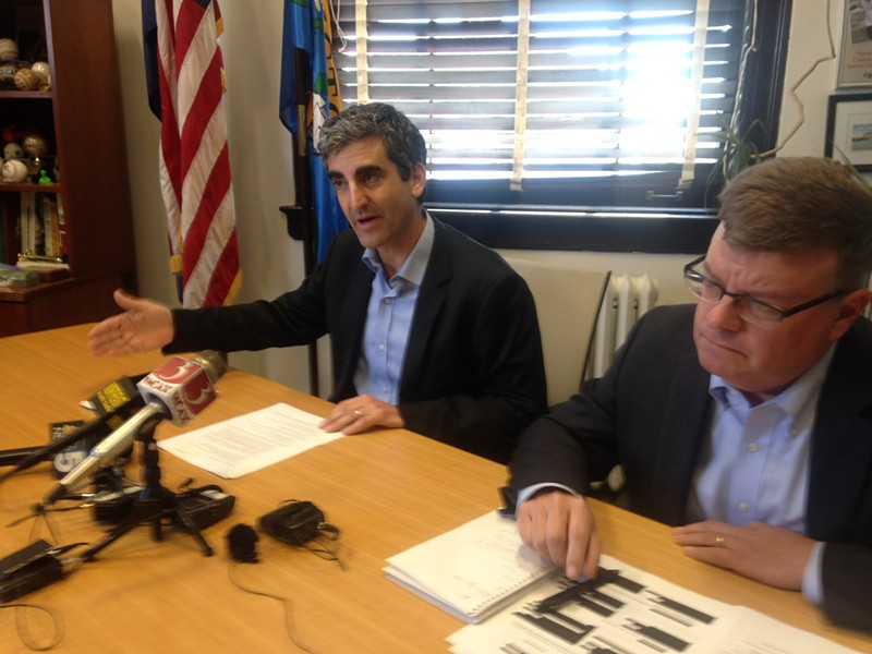 Mayor Miro Weinberger and Burlington Telecom Advisory Board Chair David Provost - MOLLY WALSH
