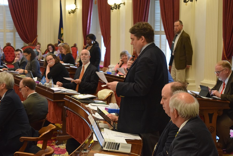 Rep. Oliver Olsen (I-Londonderry) taking part in a legislative debate - FILE: TERRI HALLENBECK