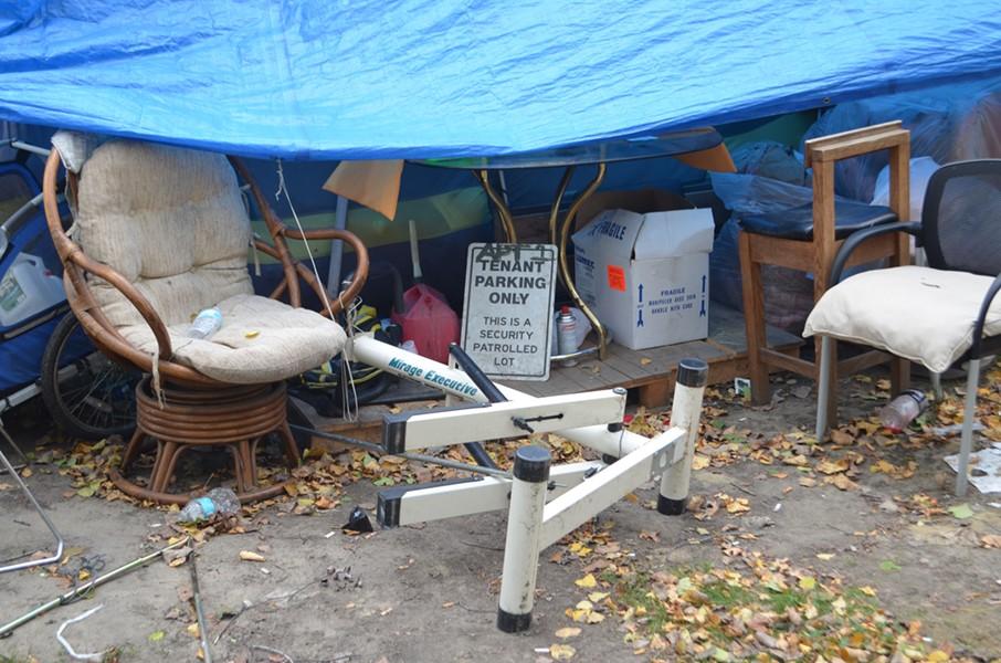 Belongings at the South End encampment - KATIE JICKLING