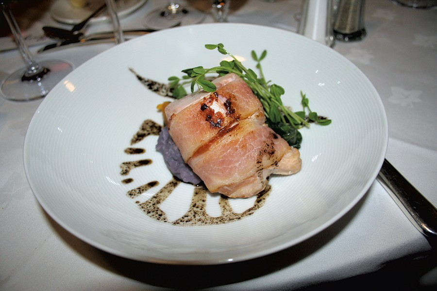 Christian Kruse's bacon-wrapped rabbit loin at Basin Harbor Club - SUZANNE PODHAIZER