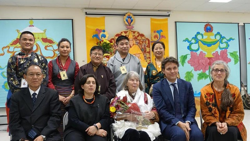Grace Spring (center, first row) with representatives from International Campaign for Tibet and Tibetan Association of Vermont, and her daughter, Cassandra Corcoran (far right)
