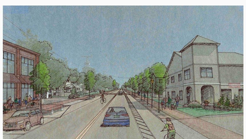 A rendering of the proposed reconstruction of Winooski's Main Street