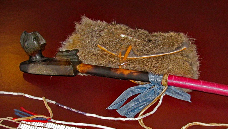 Items given to State of Vermont in 2011: soapstone pipe, fur tobacco pouch, peace wampum belt
