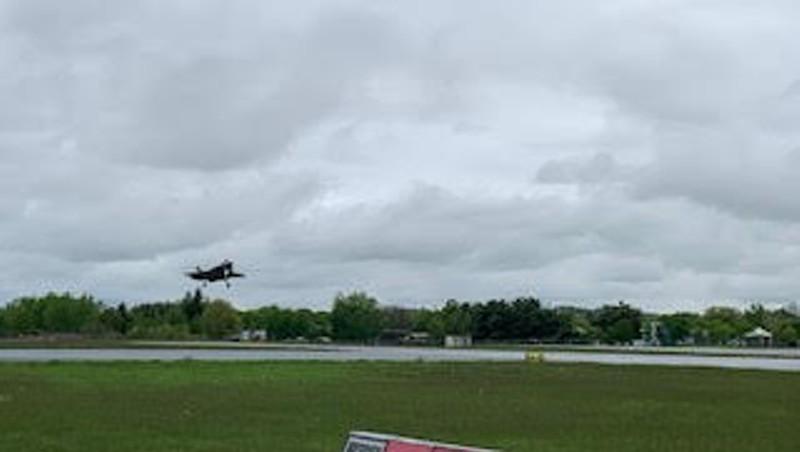 An F-35 landing at Burlington International Airport