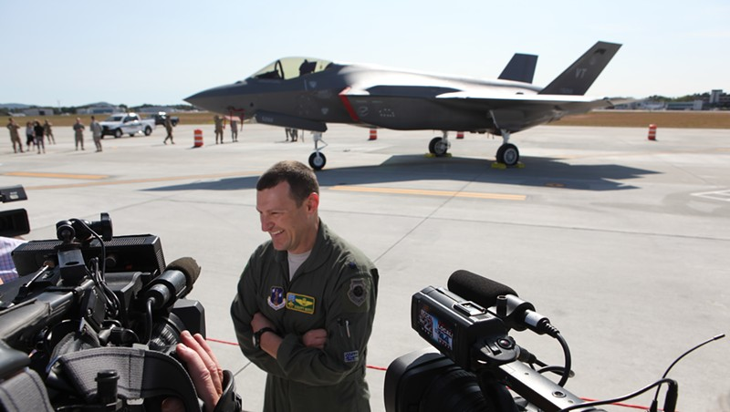 Lt. Col. Tony Marek speaks to the media after flying one of the Air Guard's two new F-35s from Texas to Burlington.