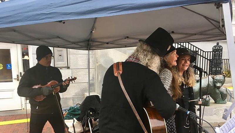 Daniel Bernard Roumain performing with members of the New Economistas on Church Street