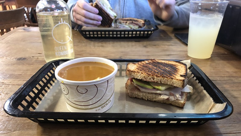 Maple, apple and butternut bisque and the Vermonter at Garden of Eatin' Café