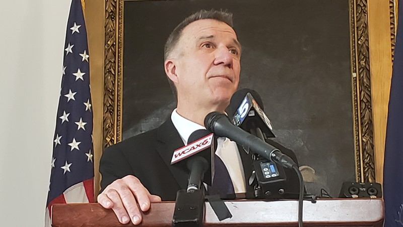 Gov. Phil Scott at a Statehouse press conference last week.