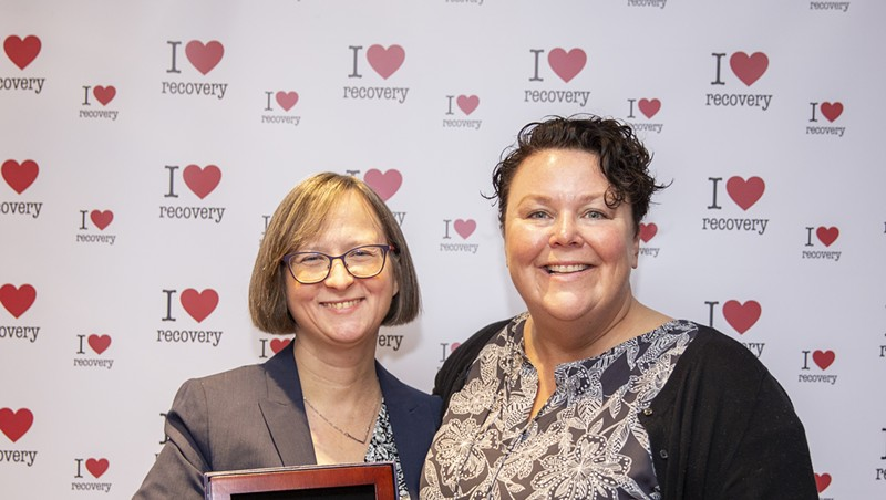 Cathy Resmer (left) and Maura O'Neill at Recovery Day in Montpelier