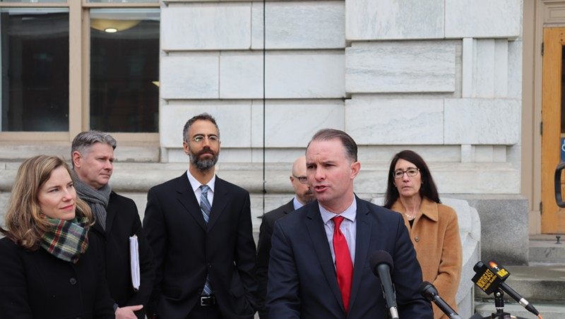 Attorney General T.J. Donovan and staff at Tuesday's press conference