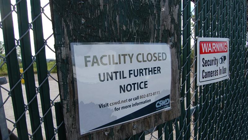 The gate at the Burlington drop-off facility