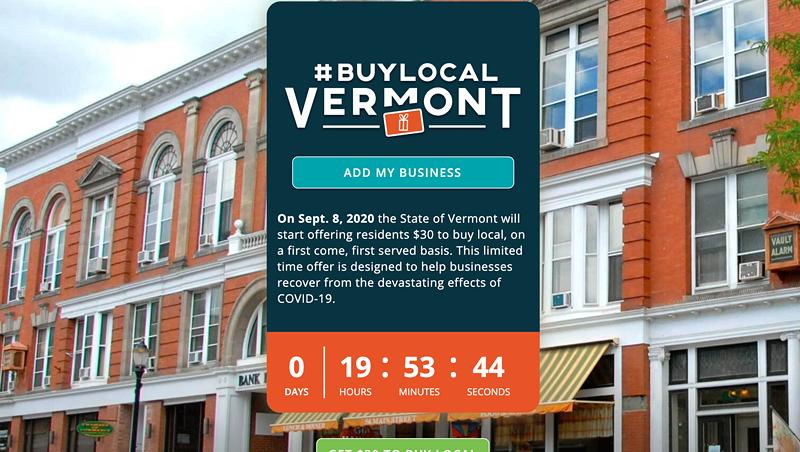 The #BuyLocalVermont website