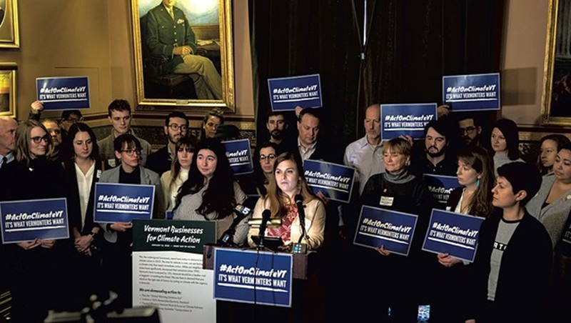 Climate activists in the legislature earlier this year