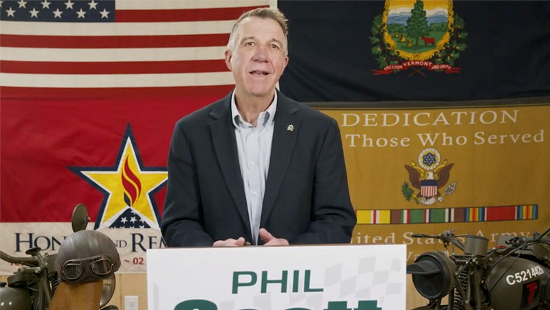 Gov. Phil Scott declares his victory speech Tuesday in a video shot in his motorcycle garage.