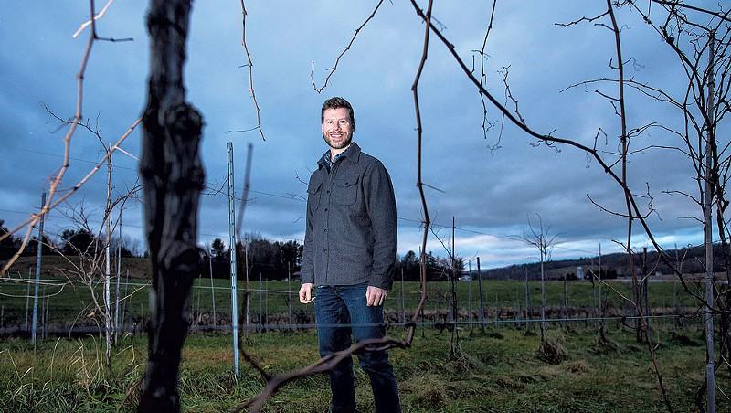 David Keck in the vineyard at Boyden Valley Winery in Cambridge