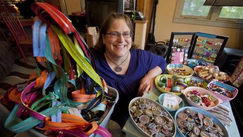 Stacie Mincher with her zipper jewelry