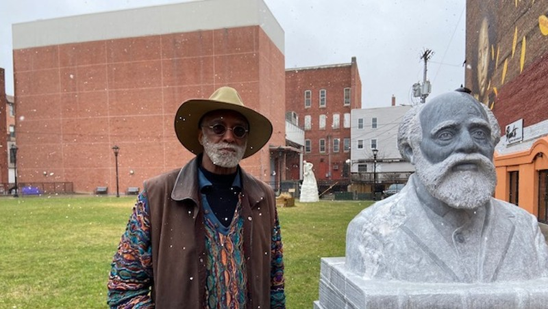 Al Wakefield in Rutland with the newly installed sculpture of Martin Freeman, the first black president of an American college