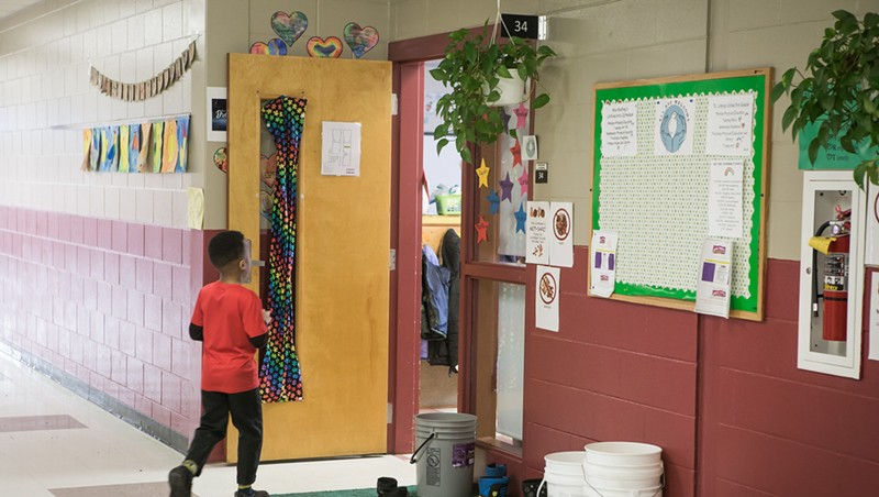 A student inside the Winooski school building in 2019