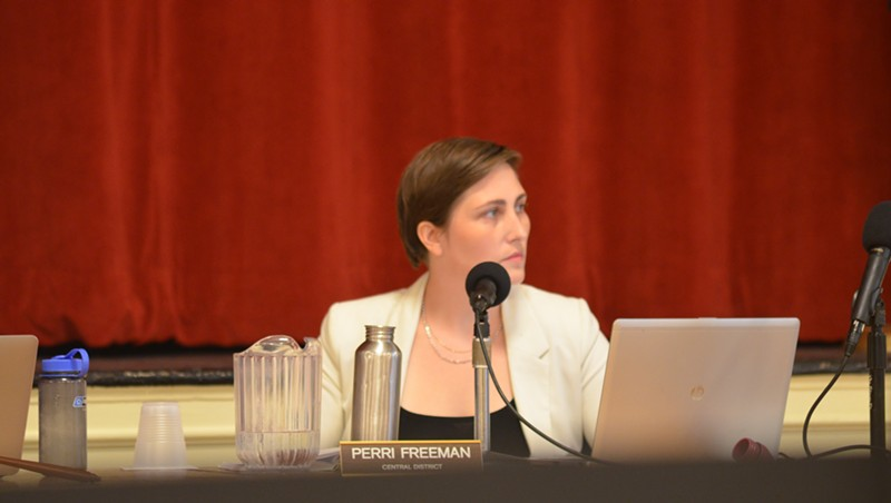 Councilor Perri Freeman (P-Central District) at Monday's meeting