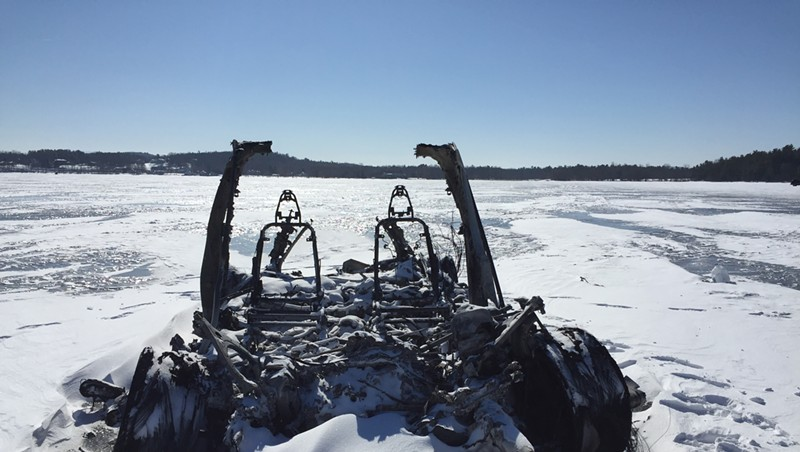 The Tesla that burned on Lake Champlain in 2019