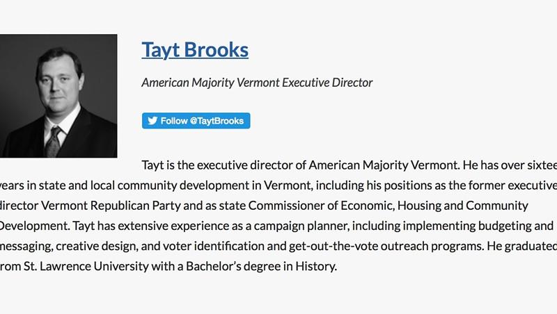 Tayt Brooks' biography on American Majority's website