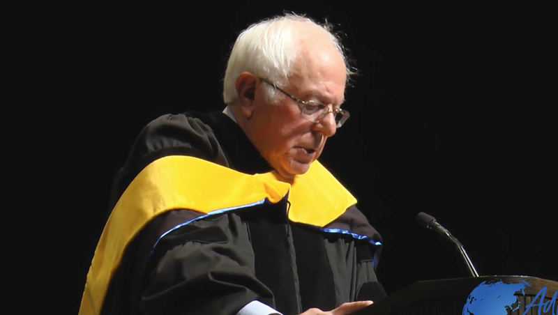 U.S. Sen. Bernie Sanders (I-Vt.) delivers his foreign policy speech at Westminster College Thursday.