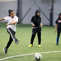 The Golden Blazers Girls Soccer Team Anjana Raika practicing free kicks James Buck