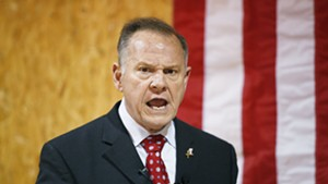 U.S. Senate candidate Roy Moore speaking at a campaign rally in Alabama