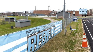Rebel banners at South Burlington High School during the 2016-2017 school year.