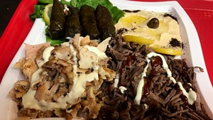 Chicken and beef shawarma with hummus and stuffed grape leaves at Mr. Shawarma