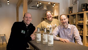 Left to right: Aqua ViTea Kombucha founder Jeff Weaber and Appalachian Gap Distillery owners Lars Hubbard and Chuck Burkins