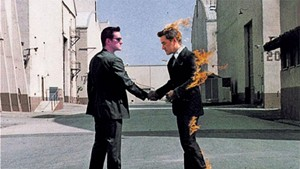 """Pink Floyd's Wish You Were Here album cover art, recreated using images of """"Floydian Slip"""" radio host Craig Bailey."""