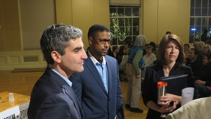 Mayor Miro Weinberger, Infinite Culcleasure and Carina Driscoll at the Seven Days mayoral forum in February