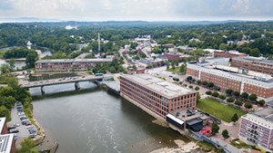 Aerial view of the Winooski River and mills