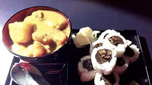 Curry and a sushi roll at Shinjuku Station Café