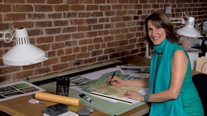 Landscape architect Cynthia Knauf in her office
