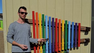 Mike Waters with one of his xylophones