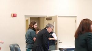 Steven Bourgoin, left, with defense attorney Bob Katims, center