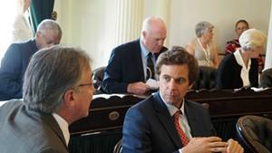 Sen. Phil Baruth (D/P-Chittenden), left, speaking with Senate President Pro Tempore Tim Ashe (D/P-Chittenden)