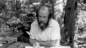 Solzhenitsyn in Cavendish, at his self-made table with birch legs.