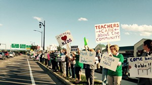 Burlington teachers picketing in 2016