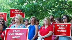 Union members and supporters at a press conference Monday morning announcing the strike notice