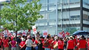 Nurses rallying outside the hospital