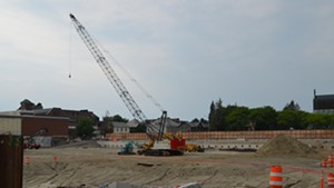 The vacant Burlington Town Center construction site